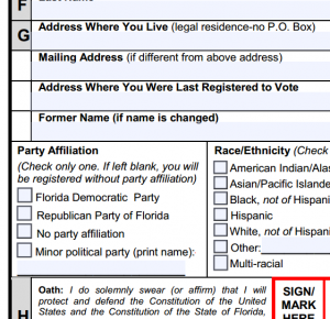 Voter registration form from Florida.